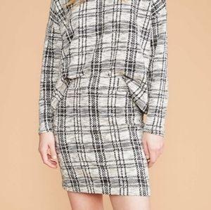 Lou & Grey Black + White Plaid Knit Mini Skirt
